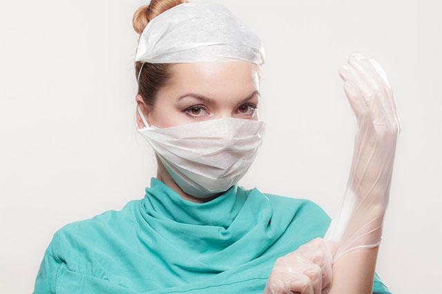 Doctor wearing gloves
